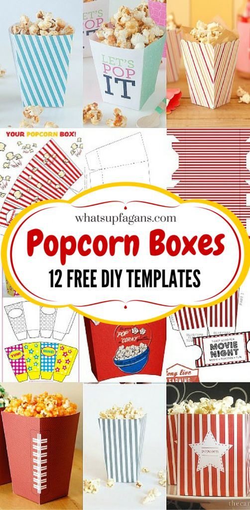 I love popcorn boxes! What a great list of free printable template popcorn boxes so I can DIY and get my craft on (and save money and not have to run to a store!). Perfect for movie night or a party!