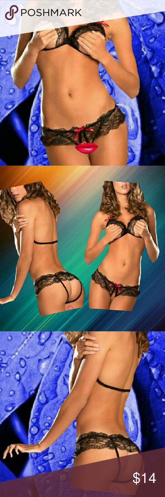 Temptation Erotic Lingerie Black Lace Peek-a-Boo Temptation Erotic Lingerie Black Lace Peek-a-Boo  Temptation Erotic Lingerie Black Lace Peek-a-Boo exposed breast bra with matching crotchless underwear. Black with Red Trim. Feeling Frisky? This set will do the trick. Turn up the fire in your relationship tonight! Guaranteed to bring a big smile and other things....  One size fits small to medium, however, this set is a big larger than the others so if you are leaning toward a large you might…