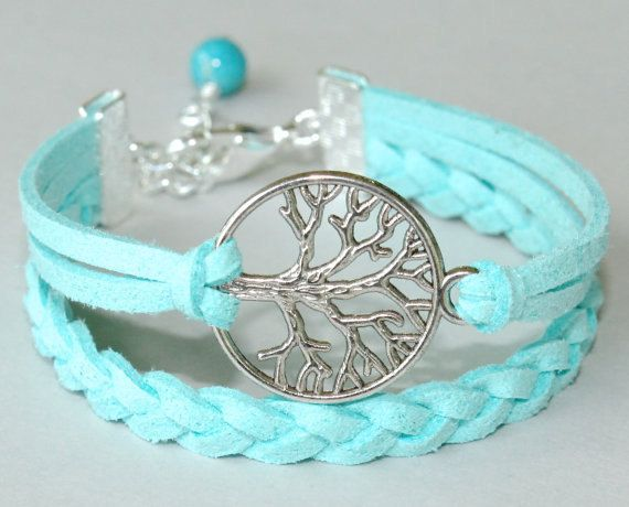 Antiqued SILVER Tree of Life Charm Boho Bracelet - Hand Braided Microfiber Faux Suede Bracelet - Pick SIZE / COLOR - Instant Ship from Usa
