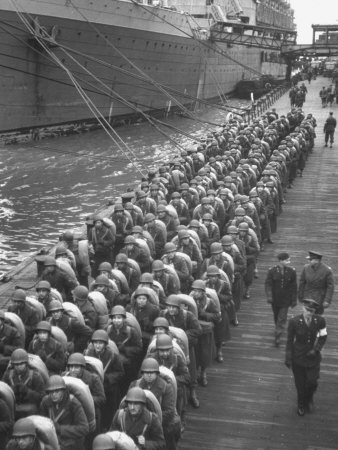 Troops ready for D-Day invasion of Normandy before shipping out during WWII