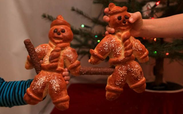 These 'Grittibänz' are popular figures made from bread dough during Advent in Switzerland and particularly on 6 Dec, St Nicholas' Day.