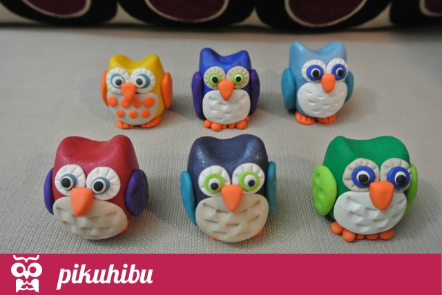 """PikuHibu Clay Owls"" - These owls can be ordered in a variety of base body colours. Other owl pieces will be chosen to co-ordinate with the colour you choose."