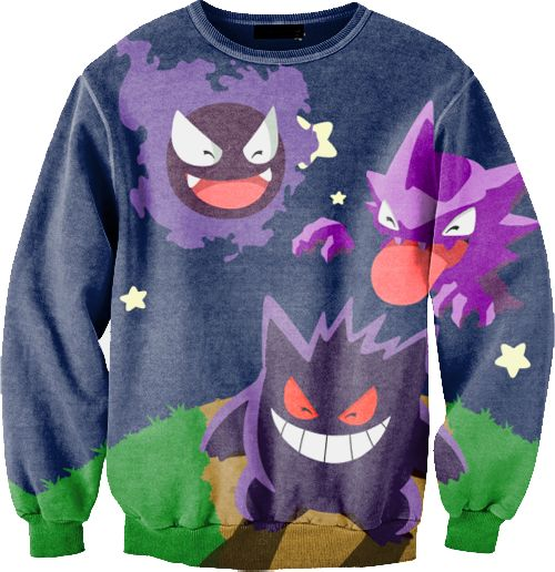This sweater with gastly, haunter, and gengar on it. Or even other pokemon sweaters.