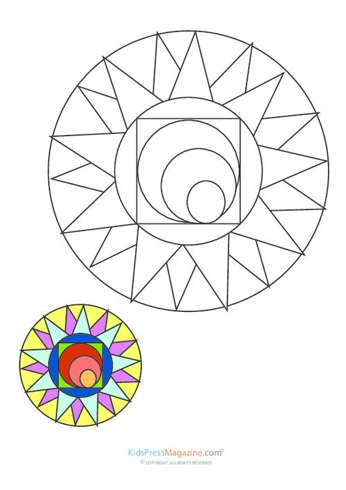 Here comes the sun. Mandala with idea how to color it. #school #teachers #arttherapy