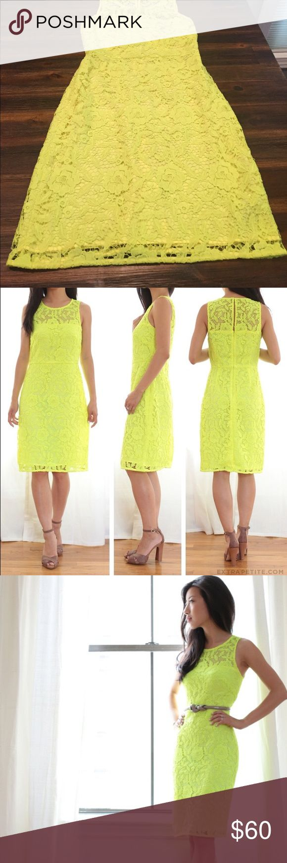 J.Crew Collection Neon Yellow Dress In EUC JCrew Collection Dress. Waist measures 13 in. Length top of neck front to bottom 32inches J. Crew Dresses
