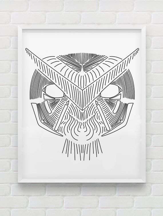 Clean Line Print - Owl Face by HHannahHHanes on Etsy  hannahchristenmichau.wix.com/hannahmichaud7