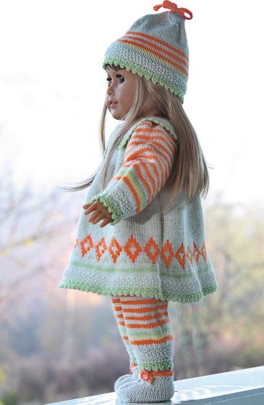 Lovely dolls clothes knitting patterns with some fall colors                                                                                                                                                                                 More