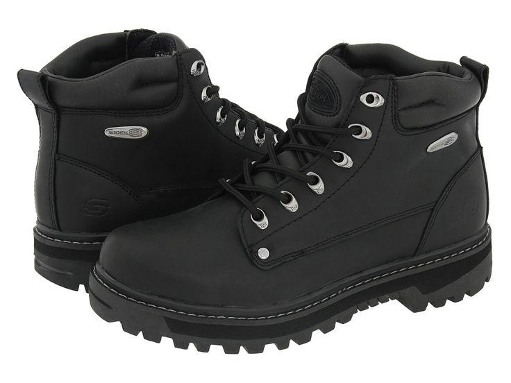 SKECHERS Pilot Men's Lace-up Boots Black Oily Leather