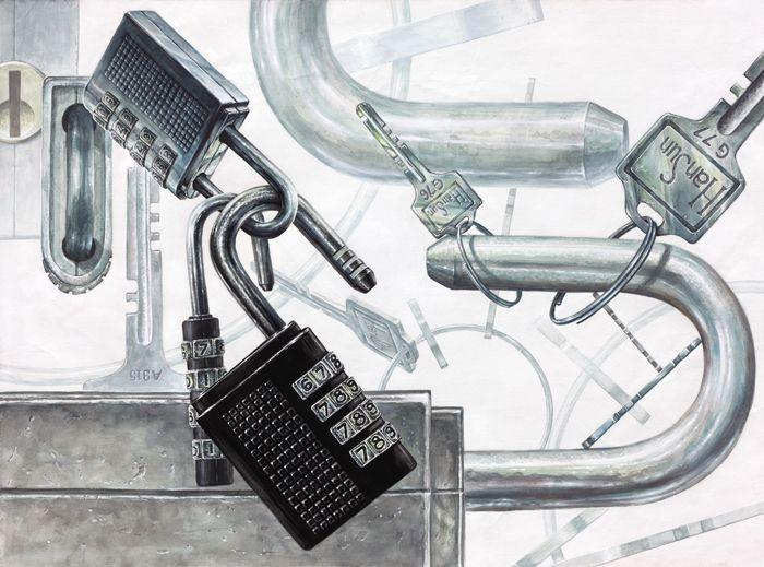 번호자물쇠(은색,검은색), 열쇠, 열쇠고리를 이용한 화면구성 대구, 화실, 미술, 디자인, 기초디자인, 화면구성, 입시디자인