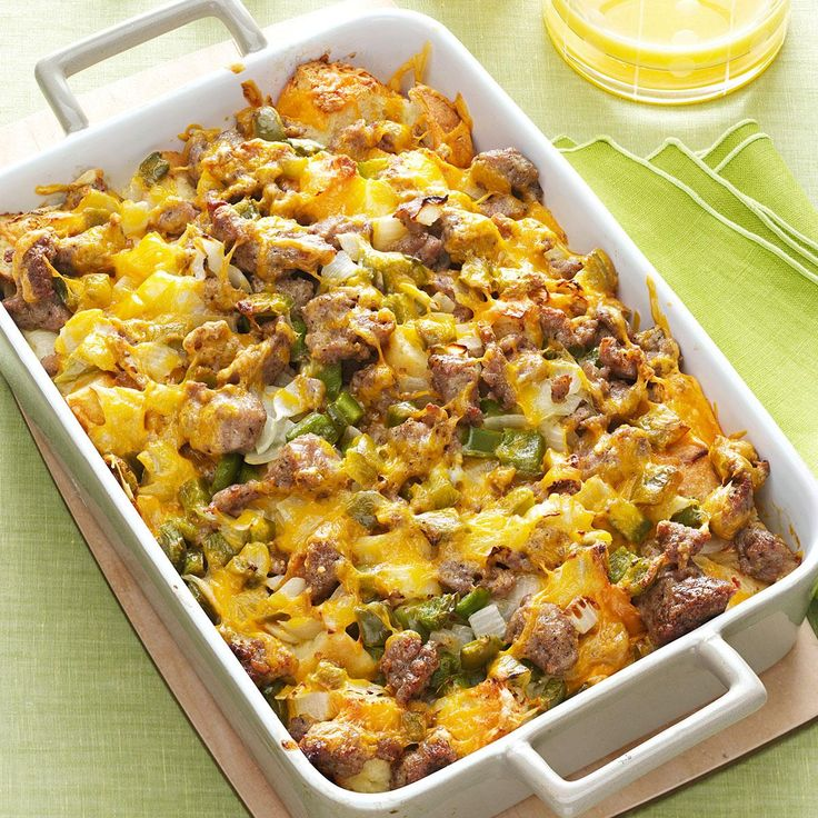 Easy Breakfast Strata Recipe -We start this breakfast casserole the night before so it's ready for the oven the next day. That way, we don't have to deal with the prep and dirty dishes first thing in the morning! —Debbie Johnson, Centertown, Missouri