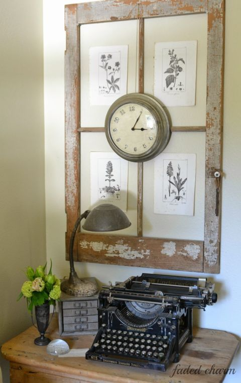 Use a glass-less window as a gorgeous backdrop for unframed prints (we love these classic botanical drawings!). Get the tutorial at Faded Charm Cottage.