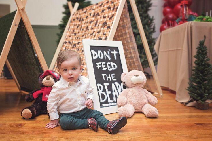 Don't Feed the Bears Camping Party Lumberjack Decorations Plaid Outdoor Woodland Bears First Birthday Themes Boy Party Outfit Plaid Moccasins Freshly Picked Tents Teepees Sign