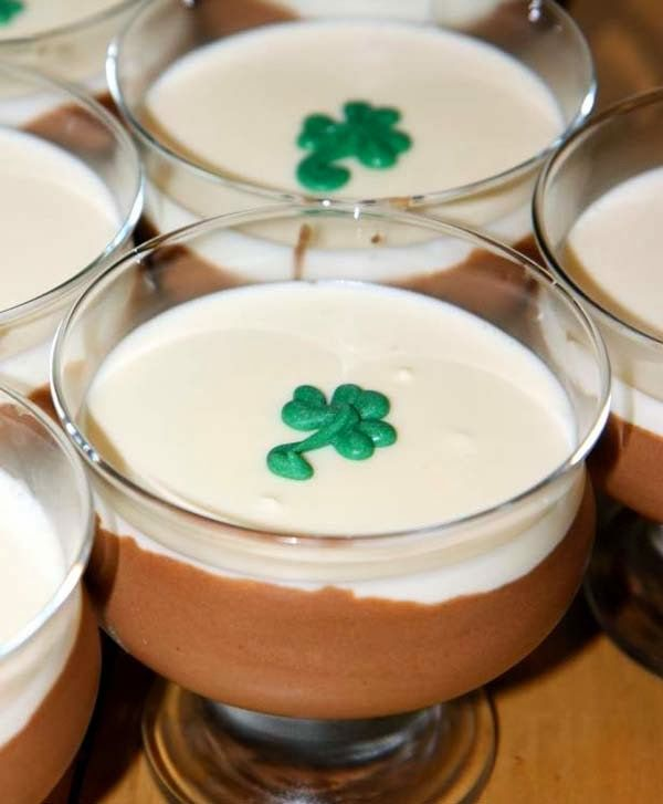 Black & White Chocolate Mousse Made w/ Guinness Stout and Irish Charm Candy for St. Paddy's Day.