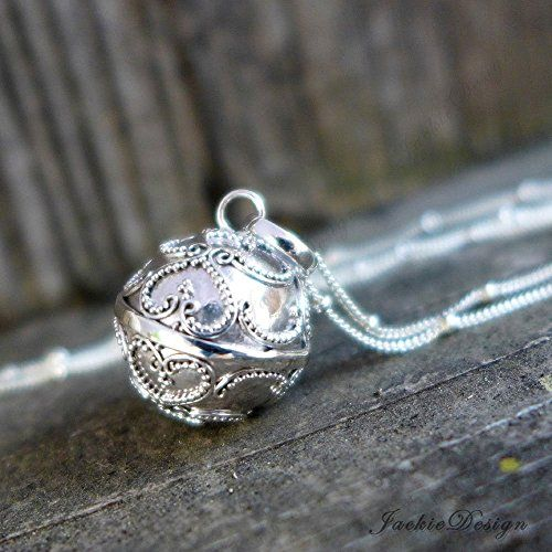 """16mm Lace Hearts Chime Sound Harmony Ball Bali Sterling Silver Pendant Necklace 30"""" Chain LS88"""