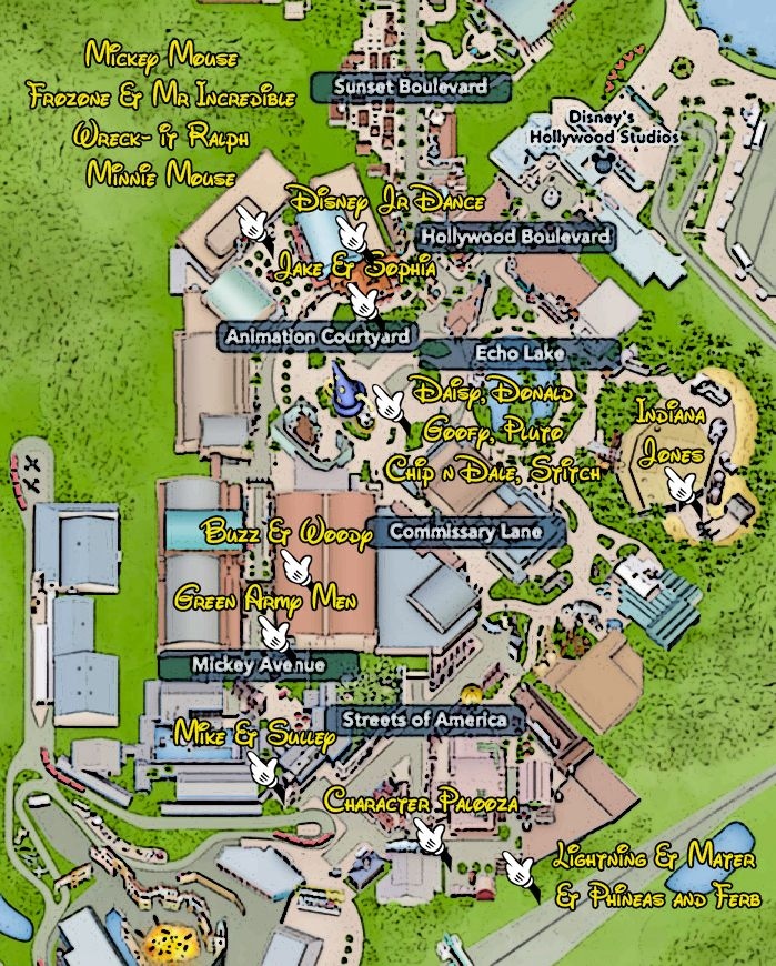 Walt Disney World, Hollywood Studios, Character Locations, Map