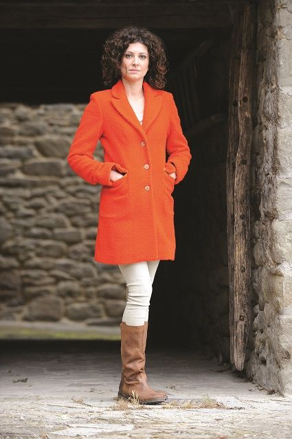 Cappotto Alessia con inserti in pelle Overcoat with leather inserts