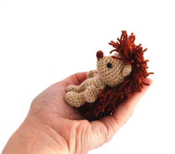 $33.34 HEDGEHOG animal doll, miniature hedgie, little amigurumi #porcupine, crocheted #stuffedanimal, chubby hedgehog animal figure, stuffed toy, #handmade by crochAndi
