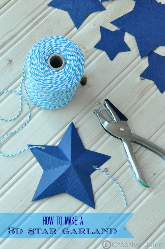 How to Make a 3D Star Garland via Creative Juice Perfect for patriotic, star gazing and outer space parties!