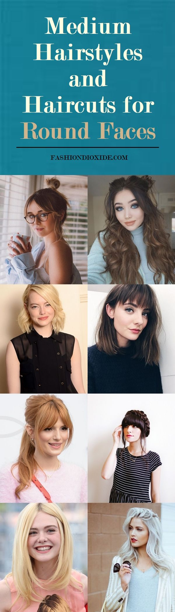 40 Medium Hairstyles and Haircuts for Round Faces 2018