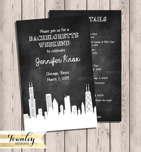 Chicago Skyline Bachelorette Party Invitation by TownleyDesigns