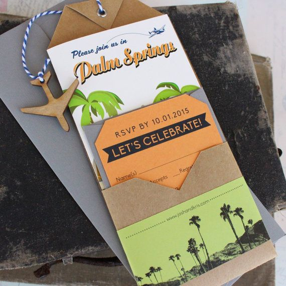 Travel Brochure Wedding Invitation Palm Springs CA by beyonddesign