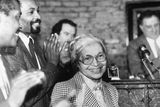 Civil rights leader Rosa Parks in 1988 at a ceremony held in her honor at the House of the Lord Church in New York.