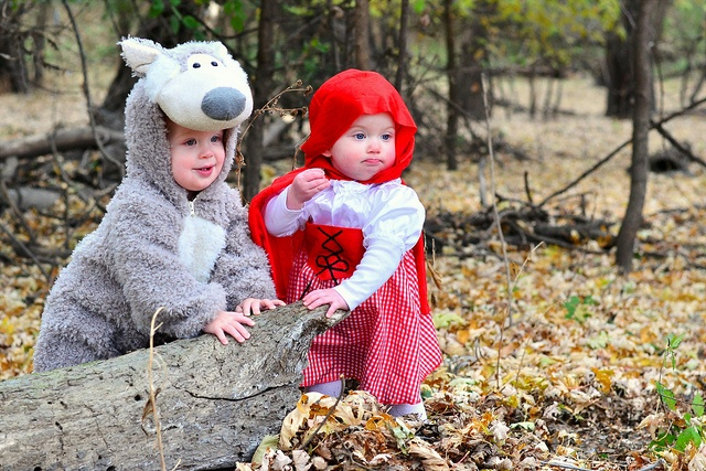 Twin halloween costumes  red riding hood & the big bad wolf!