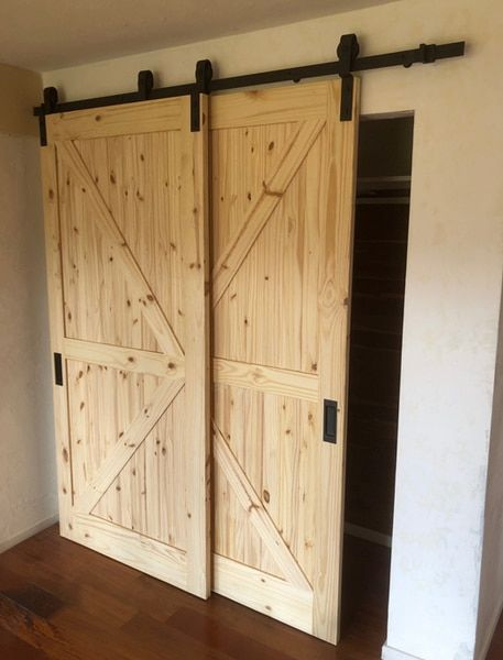 Single Track Bypass C 2 Doors On One Track Sliding Barn Door Hardware Kit With 78 Track Free Shipping 2 Doors On 1 Track Bypass Barn Door Bypass Barn Door Hardware Double Sliding Barn Doors