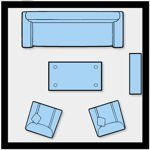 """8. One large sofa (7'4""""), rectangular coffee table (4 x 2), two small armchairs (2'4"""")"""