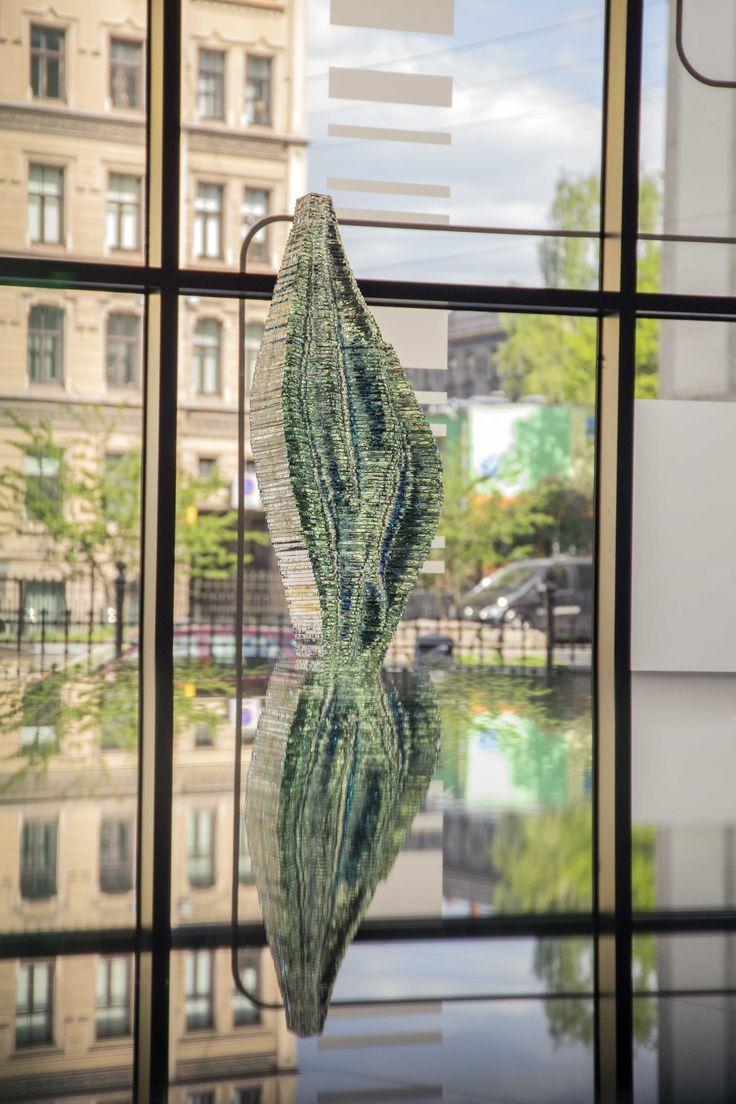 Layered glass sculpture by Ernest Vitin www.ernestvitin.com - Caleo  View all Ernest Vitin layered glass projects, find your favourite, contact us info@ernestvitin.com  Ernesta Vītiņa monumentālā stikla māksla, stikla skulptūras krāvuma tehnikā- unikālas skulptūras Latvijā.  layered glass sculptures, layered glass art, stacked glass art, beautiful glass art, amazing glass art, stikla dizains, stikla māksla