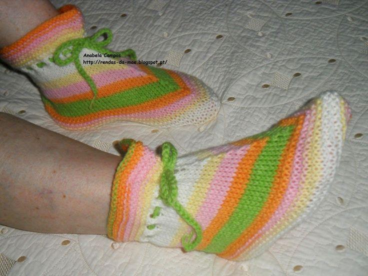 Rendas da Mãe: Sapato / Pantufa em tricô