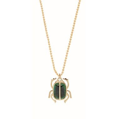 The Scarab necklace by Lilou: a 23k gold-plated pendant, with dark green Boheme crystal, a personal engraving on a gold-plated chain! Ideal gift for a beloved one #lilou #scarab #necklace #crystal #goldplated #engraving #ideal #gift