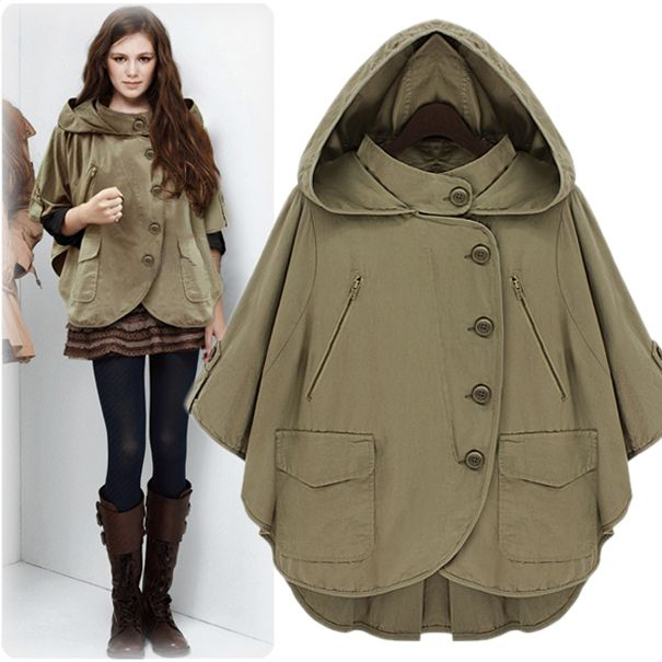 autumn casual military cool vintage poncho with a hood sweatshirt