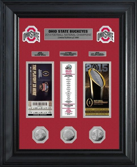 Ohio State framed memorabilia with a replica of the CFP Semi Final Ticket, the Championship Game ticket and a banner in between the tickets listing Ohio State's games and scores this past season.