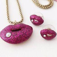 Betsey Johnson 'Hey Valentine' Hot Pink Lips Necklace/Earrings Set