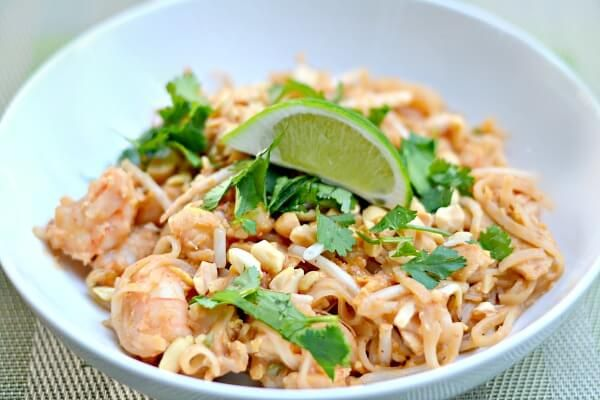 You can make delicious pad thai at home with this easy chicken and shrimp pad thai recipe featuring a homemade pad thai sauce.