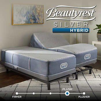 Simmons Beautyrest Salina Silver Hybrid Plush Split King Mattress with Adjustable Base