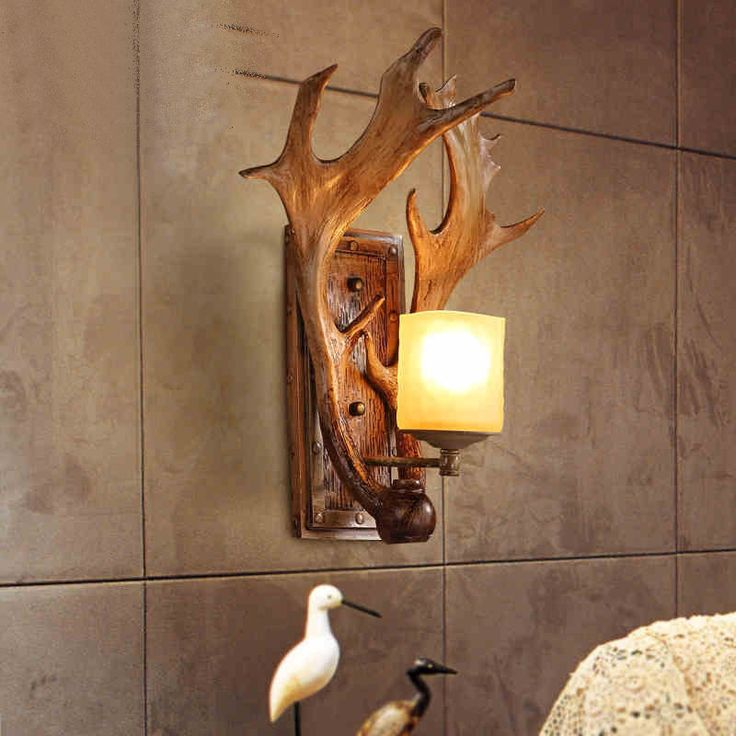 American wall lamp rural locations cafe bars restoring ancient ways lamps and lanterns stairs creative berth lamp antlers #Affiliate