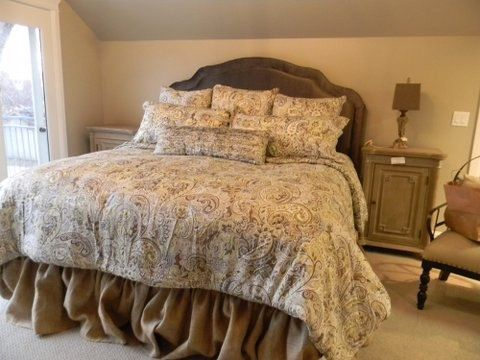 Burlap bed skirt  Queen size 60 in x 80 in Ruffled by MadeInBurlap