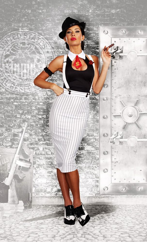 Sexy Smooth Criminal Pinstripe Dress Mafia Outfit Gangster Costume Adult Women