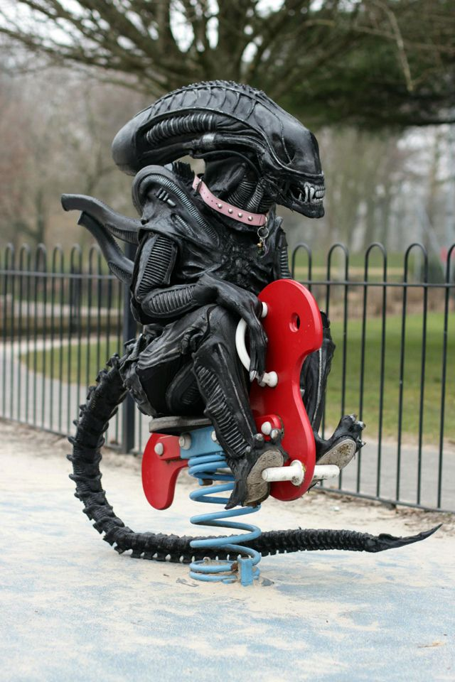 Alien Loves Predator UK, The Friendly Real-World Adventures of Two Costumed Film Characters the most original ever.