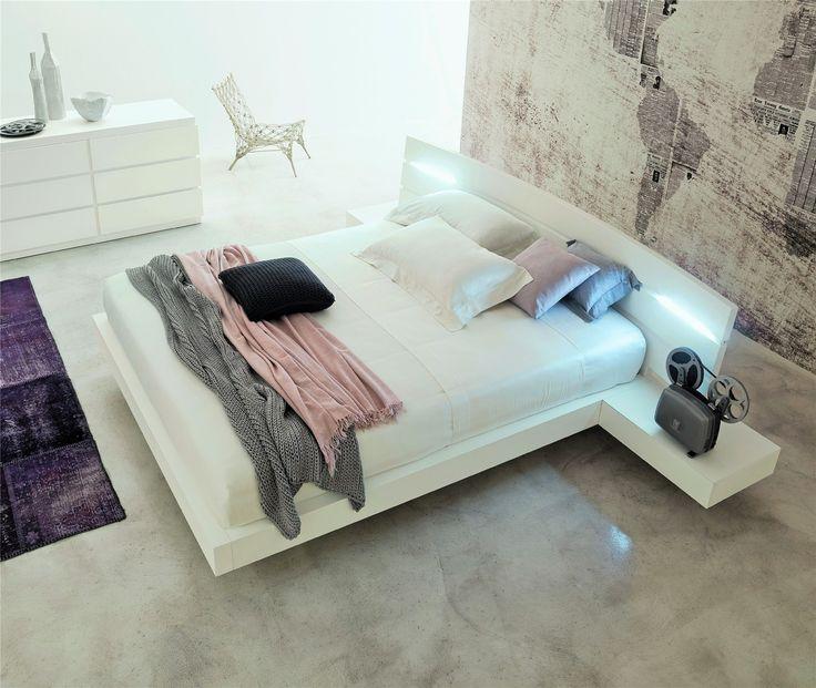 Contemporary Designer Beds » Veneran Italia, ALOA bed incl. night tables / lighting, solid birch and ash bed » Veneran Italia, ALOA bed incl. night tables / lighting, solid birch and ash bed - Head2Bed UK