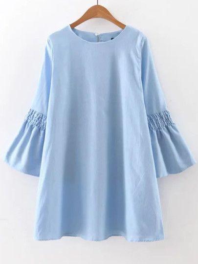Robe chemise manche cloche avec bouton - bleu