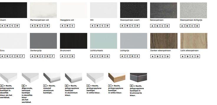 Kleuren en randafwerking voor laminaat werkbladen met een dikte van 2.8 cm