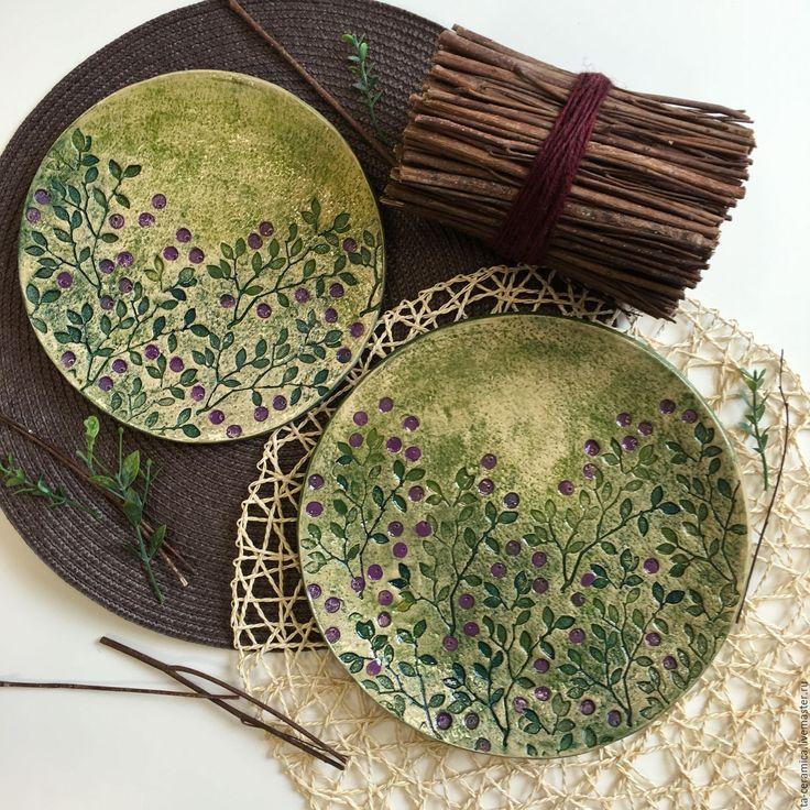 """Ceramic plates / Купить Набор посуды """"Черника"""" - комбинированный, керамика ручной работы, Керамика, керамика купить, посуда"""