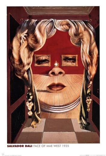 Salvador Dali has painted an optical illusion of a face(face of Mae), which looks like a doorway. This has been done by using shapes and colours. The most important part of this picture is the shapes used because if the shapes were different the illusion would not work.