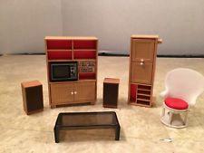 Vintage Tomy Dollhouse Miniature Plastic Living Room Furniture- 7 Pieces