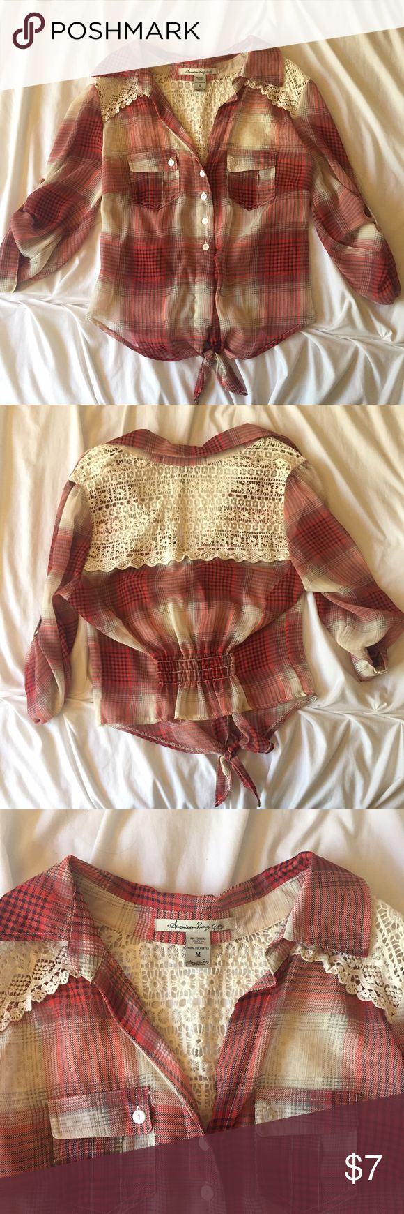 American Rag Cowgirl Shirt Red and of white pattern. Lace detail on the back. Great condition never worn. American Rag Tops
