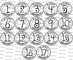 17 SPECIAL AGE birthday digi stamp set  Circle sentiment stamps  fun font  1st birthday   17th birthday  Teenager  Toddler  Kids  on Craftsuprint - View Now!