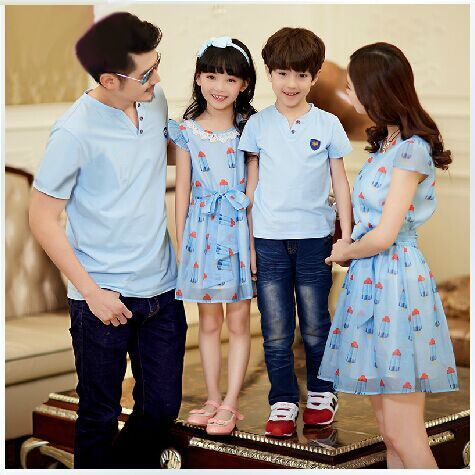 Family Matching Outfits Mommy and Daughter Cloth chiffon ice cream DressesSummer father and son t shirt outfitted holiday cloth